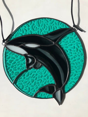 Stained Glass Orca Whale