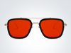 TEGO - Golden Red Retro Sunglasses with Gradient Lens