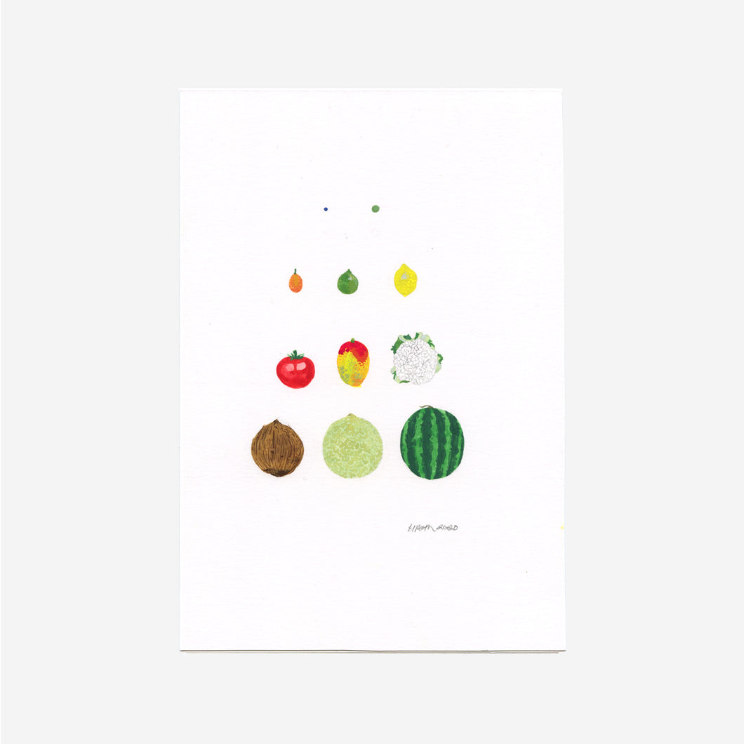 Original Gouache Painting - Growing a Baby Fruit and Veg