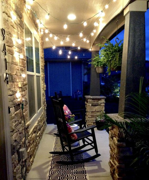 String Lights on the Front Porch