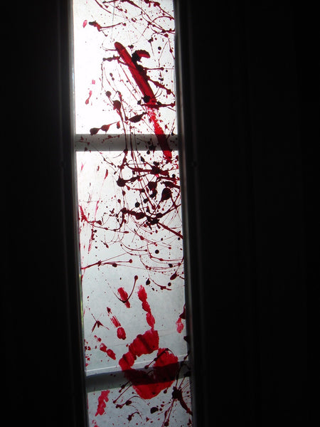 blood on window for halloween windows