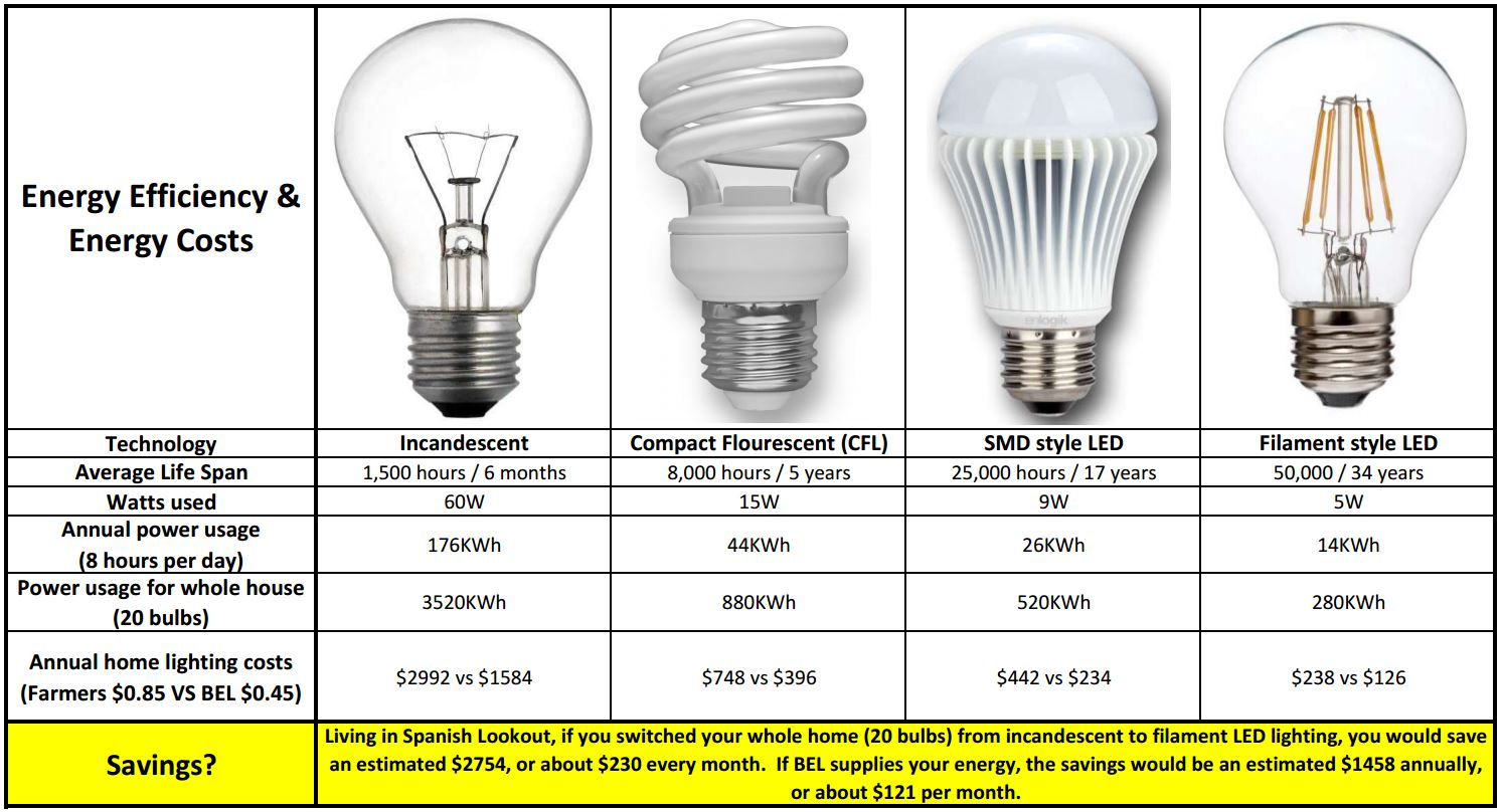 compare 4 types of bulbs