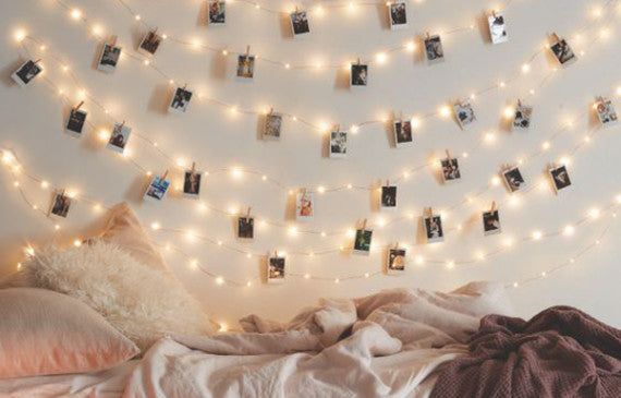 string lights decor pictures wall