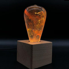 nebula table lamp with cube wood base