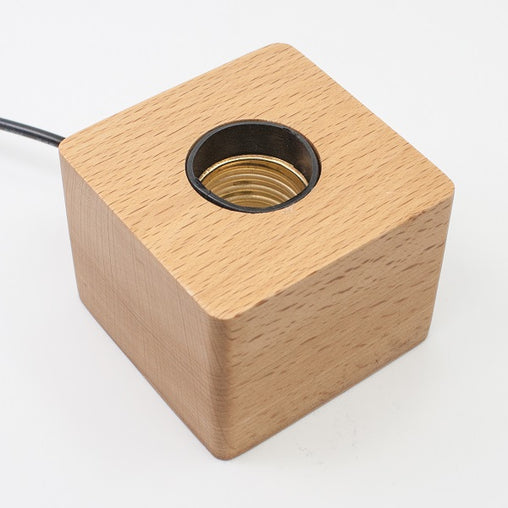 Wood light base with screw socket