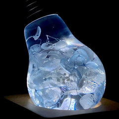 blue hydrangea light bulb