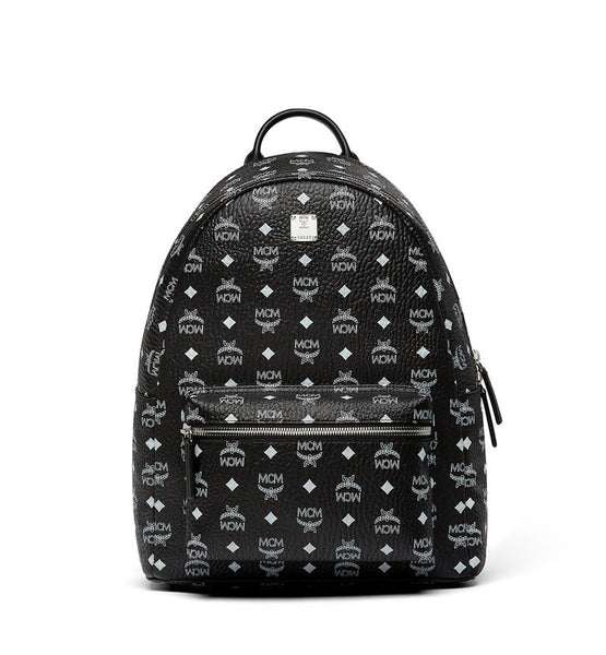 MCM Stark Leather Backpack in White Logo |