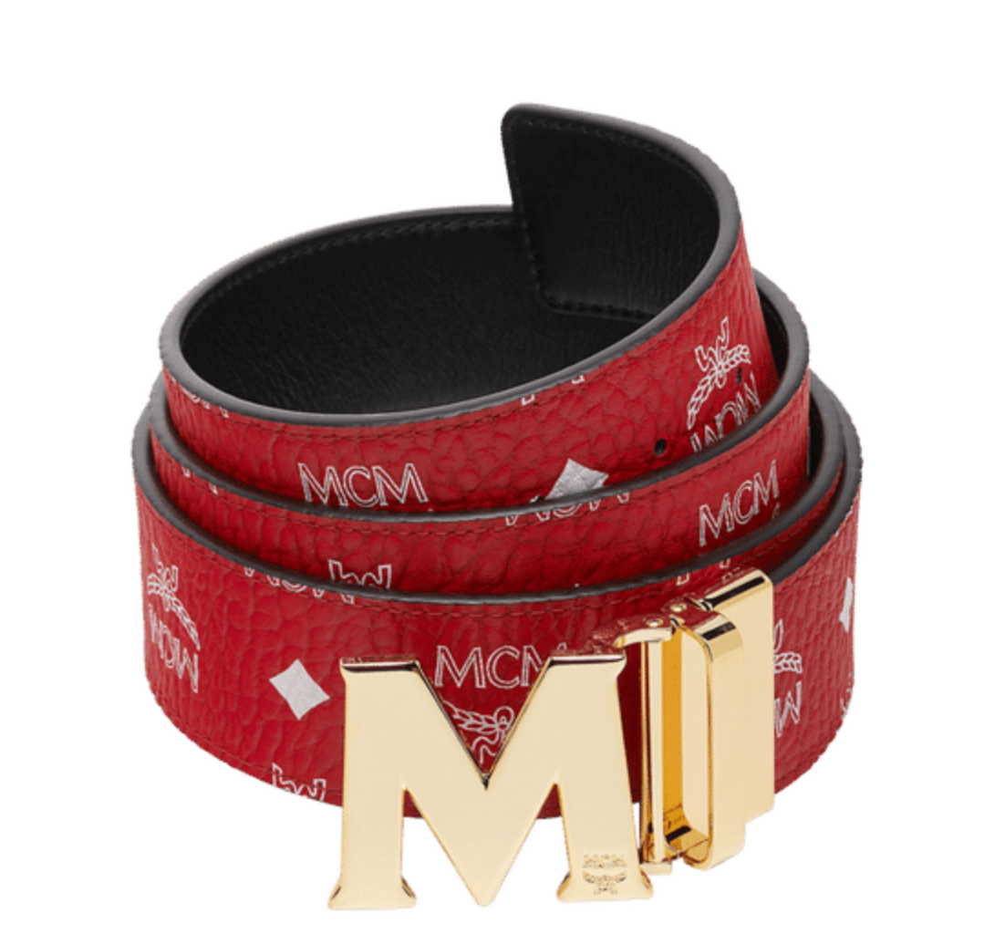 5fb0f509 MCM Reversible Belt in White Logo Vesitos | Red – Capsule NYC