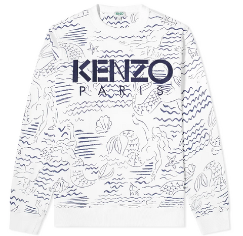 KENZO Mermaid Allover Print Sweatshirt | White