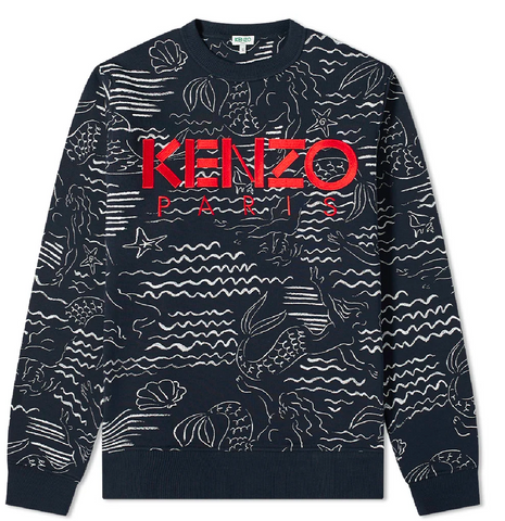 KENZO Mermaid Allover Print Sweatshirt | Navy
