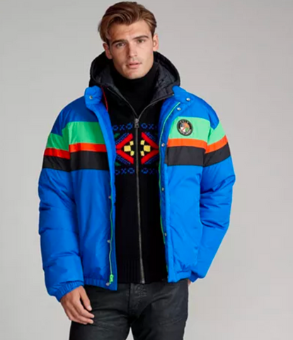POLO RL Striped Down Jacket | Blue