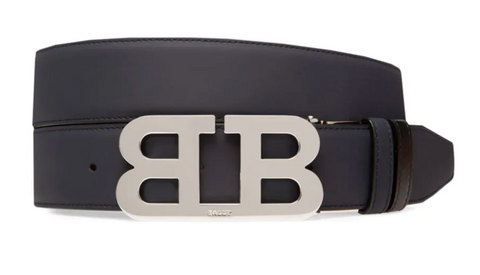 BALLY Iconic Reversible Belt | Navy/Silver