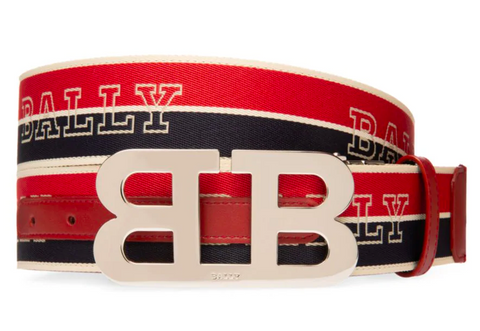 BALLY B Buckle Striped Reversible Logo Belt