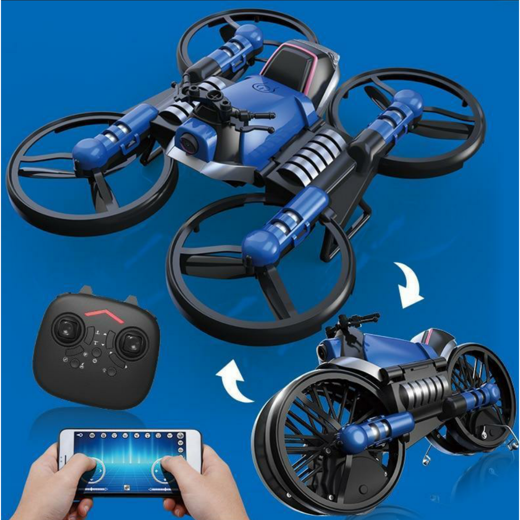 Best Drone For Kids - Motorcycle Flying Drone For Kids and Teenagers -Folding RC Drone & Folding Aircraft Quadcopter Toy - Multi-functional Folding Motorcycle Drone - - Shopptique