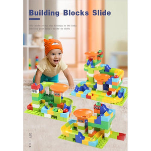 Best Marble Run Toy - Building Blocks Marble Race Track Construction Set - Best Marble Race Run Track -110 PCS - Shopptique