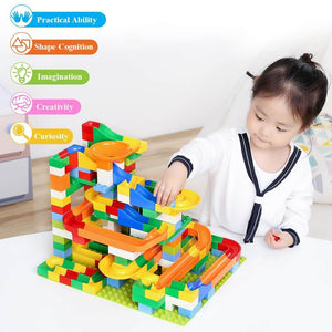 Best Marble Run Toy - Building Blocks Marble Race Track Construction Set - Best Marble Race Run Track -220 PCS - Shopptique