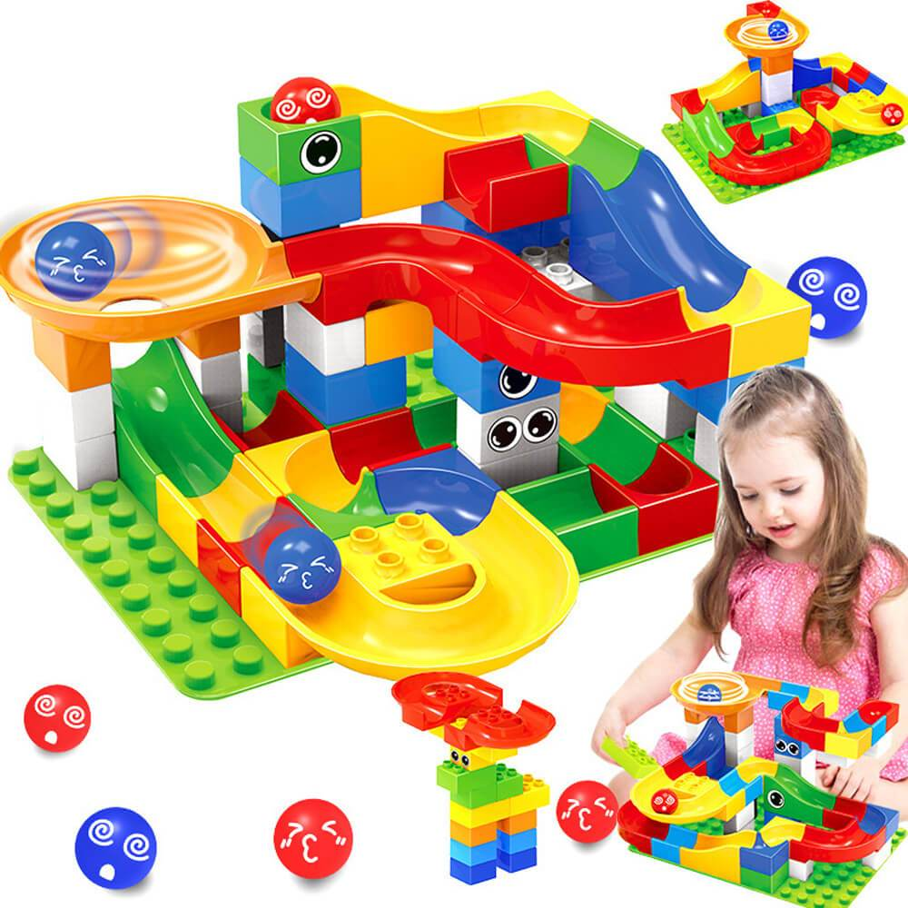 Best Marble Run Toy - Building Blocks Marble Race Track Construction Set - Best Marble Race Run Track -296 PCS - Shopptique