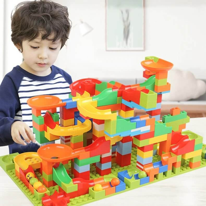 Best Marble Run Toy - Building Blocks Marble Race Track Construction Set - Best Marble Race Run Track -330 PCS - Shopptique
