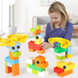 Best Marble Run Toy - Building Blocks Marble Race Track Construction Set - Best Marble Race Run Track -55 PCS - Shopptique