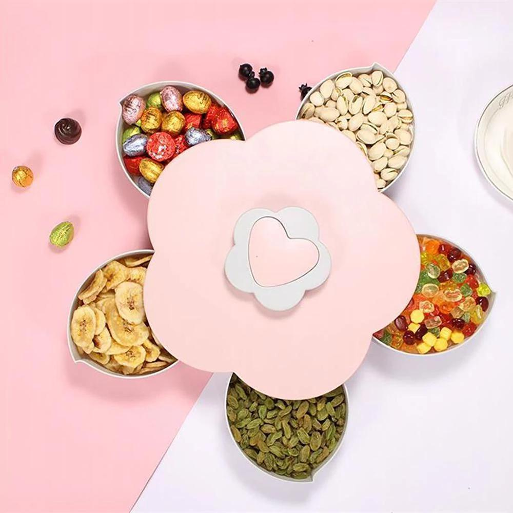 Flower Serving Tray - Flower Bloom Snack Box - Snack Tray Rotating Flowers Food Gift Box - BloomBox - Flower Serving Tray -Pink / Single Layer - Shopptique