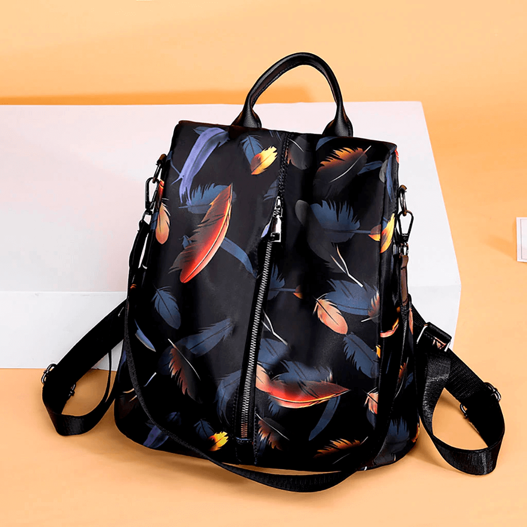 Handbag, Shoulder Bag, Sling Bag, Satchel Bag, Tote Bag and Crossbody Bags For Women - Waterproof 3 Way Anti-Theft Women's Backpack -Black Feather - Shopptique