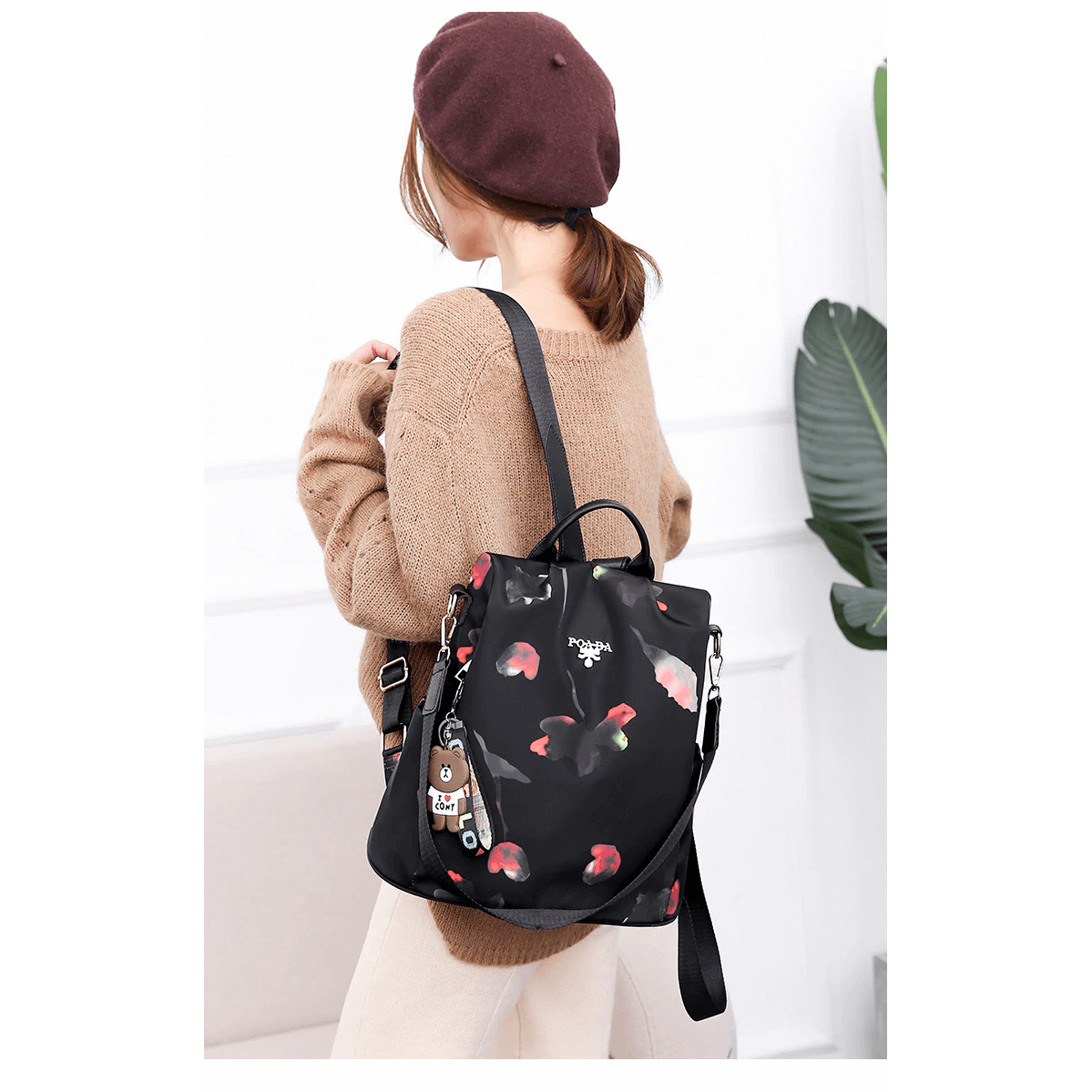 Handbag, Shoulder Bag, Sling Bag, Satchel Bag, Tote Bag and Crossbody Bags For Women - Waterproof 3 Way Anti-Theft Women's Backpack -Black Flower - Shopptique