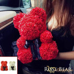 Handmade Valentines Day Rose Bear - Bear made of roses - Handmade Valentines Day Rose Bear -Red / LED Light - Shopptique