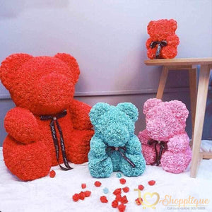 Handmade Valentines Day Rose Bear - Bear made of roses - Handmade Valentines Day Rose Bear - - Shopptique