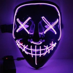 LED Purge Mask Scary Halloween Mask Best Light Up Mask Horror Mask - Purge Halloween Led Mask -Purple - Shopptique