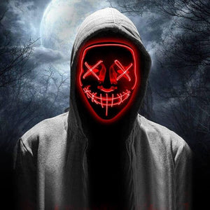 LED Purge Mask Scary Halloween Mask Best Light Up Mask Horror Mask - Purge Halloween Led Mask -Red - Shopptique