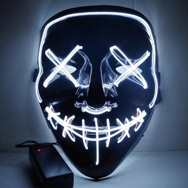 LED Purge Mask Scary Halloween Mask Best Light Up Mask Horror Mask - Purge Halloween Led Mask -White - Shopptique