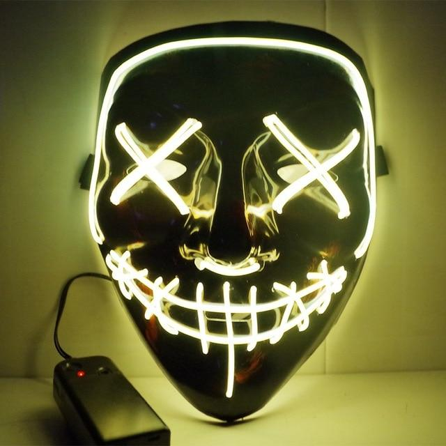 LED Purge Mask Scary Halloween Mask Best Light Up Mask Horror Mask - Purge Halloween Led Mask -Yellow - Shopptique