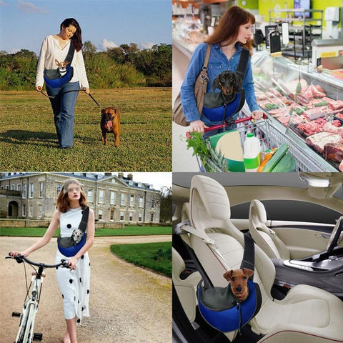 Pet Dog Sling Pouch Carrier - Breathable Mesh Travel Safe Sling Bag Carrier for Dogs & Cats