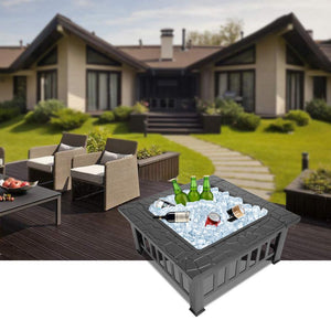Outdoor Modern Square Patio Fire Pit Table