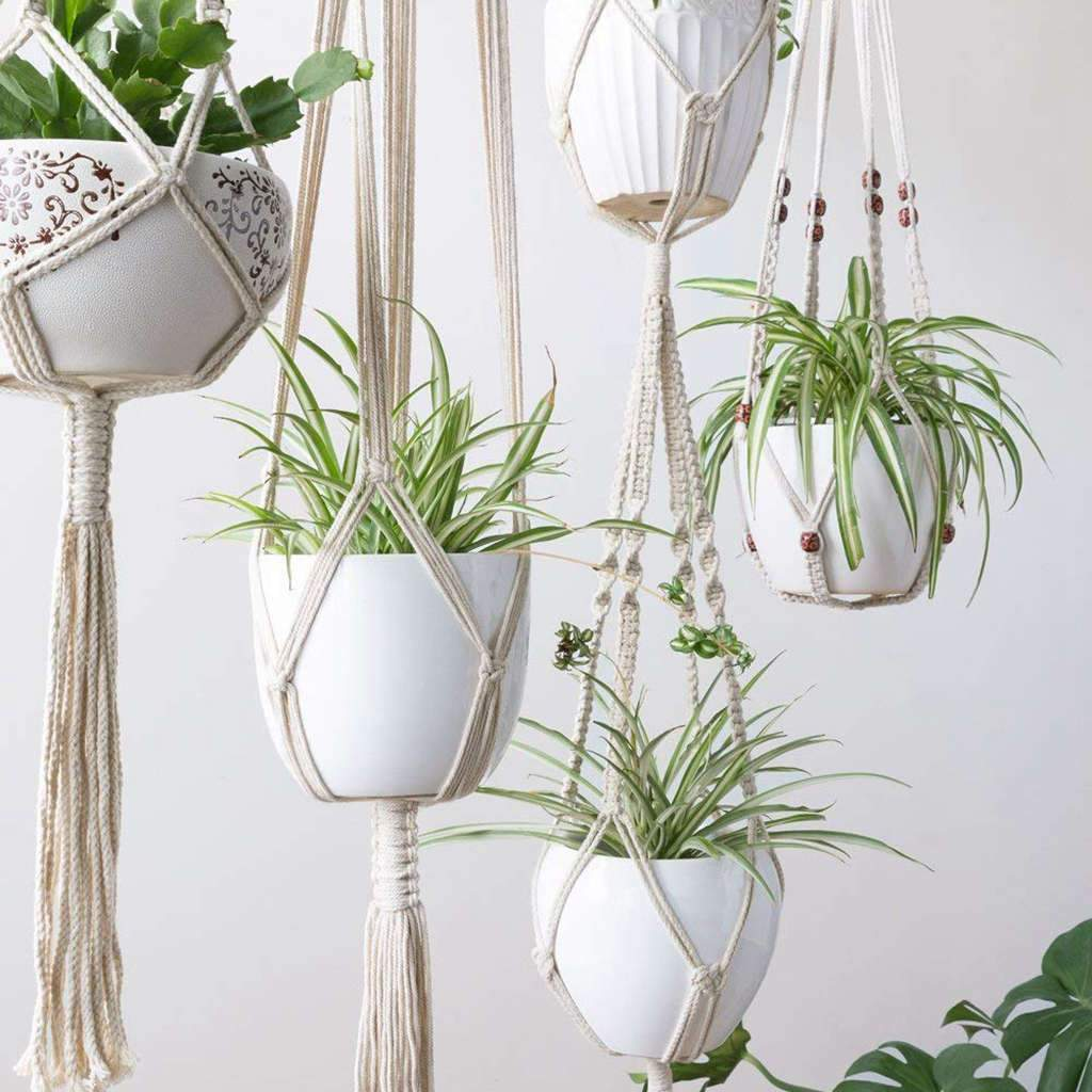 Premium Macrame Ceiling Hanging Planter Holder 4 Pack