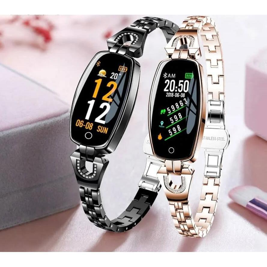 SmartWatch Women - Waterproof Fitness Tracker for both Android & IOS - Best Smart Fitness Watch For Womens - Premium Smart Fitness Tracker - Compatible with Android & IOS -Set of Rose Gold & Black - Save $20 - Shopptique
