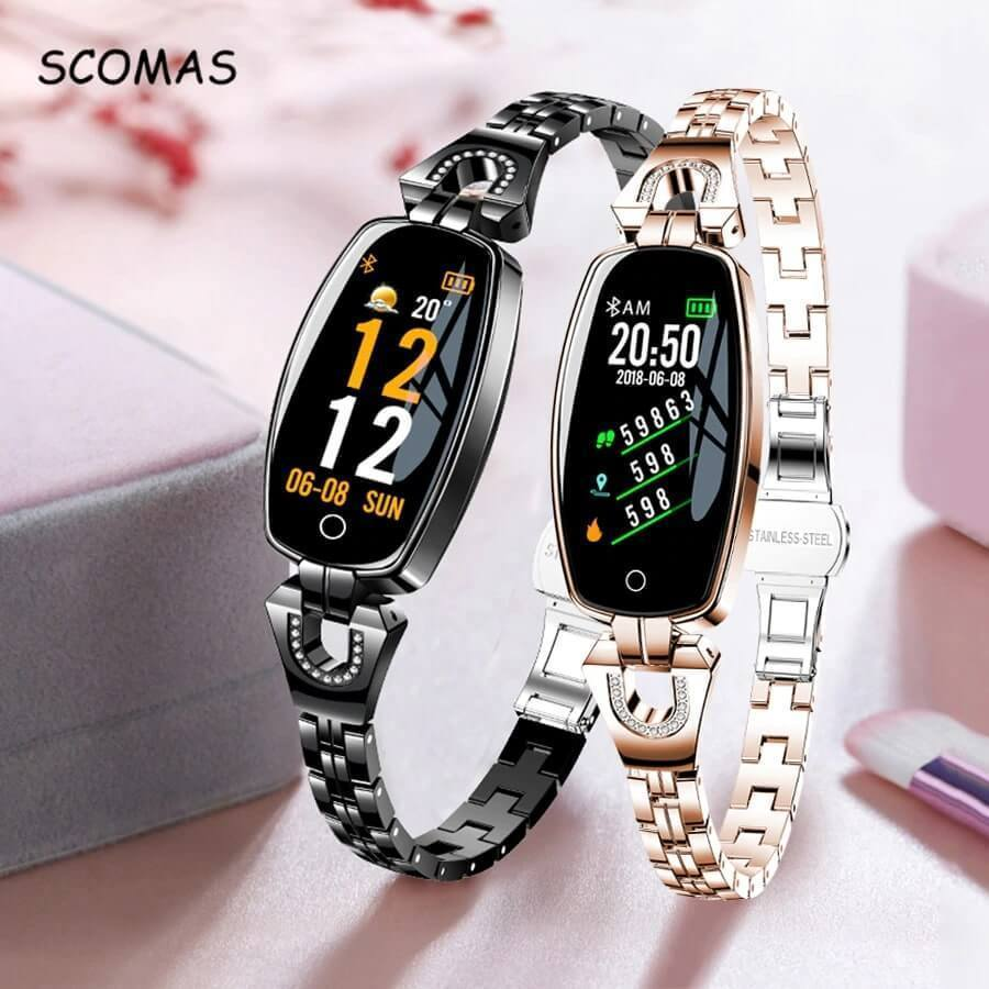 SmartWatch Women - Waterproof Fitness Tracker for both Android & IOS - Best Smart Fitness Watch For Womens - Premium Smart Watch For Women Compatible with Android & IOS -Set of Rose Gold & Black - Save $20 - Shopptique