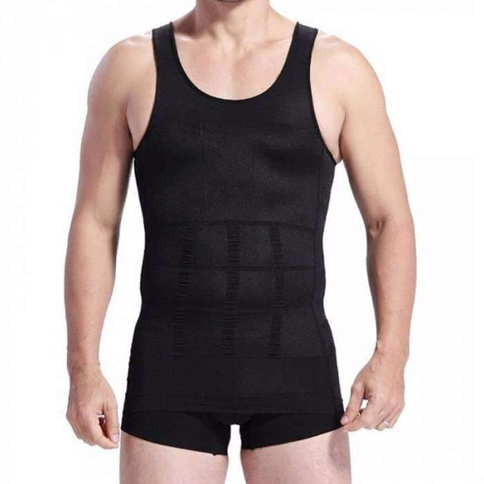 Spanx For Men - Compression Tank Tops - Mens Body Shaper Slimming Vest - Mens Slimming Body Shaper -M / Black - Shopptique