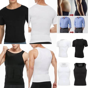 Spanx For Men - Compression Tank Tops - Mens Body Shaper Slimming Vest - Mens Slimming Body Shaper -M / Set of Black & White - Shopptique