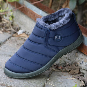 Warm Snow Boots, Winter Warm Ankle Boots, Fur Lining Waterproof Boots - Women's Soft Sole Warm Ankle Boots -Blue / 10 - Shopptique