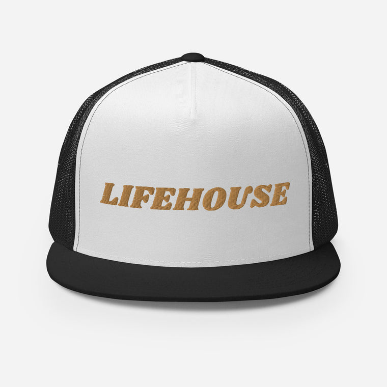 Lifehouse Logo Trucker Hat - Black w/Gold Font