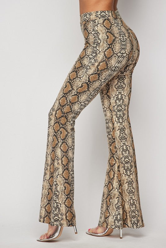 TAKI TAKI Snakeskin Flared Pants (Set Optional)