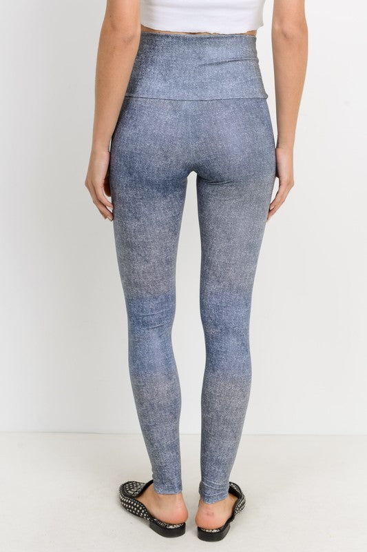 GOT A FEELIN' Denim Print Leggings