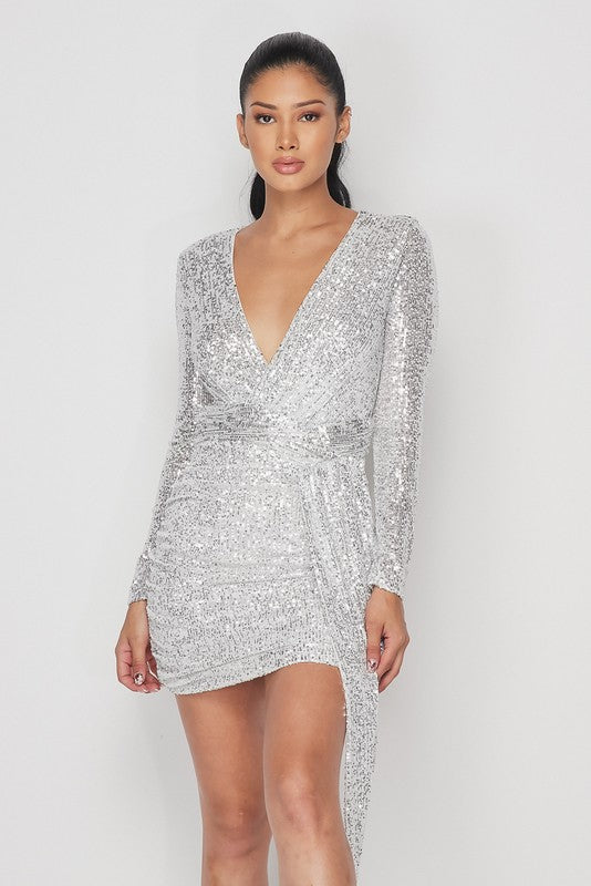 LIGHTS UP Long Sleeve Sequin Mini Ruched Dress