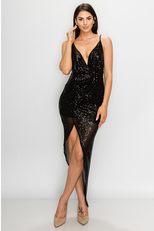 LOVER Sexy Black Sequin Cocktail Dress w/ High Slit