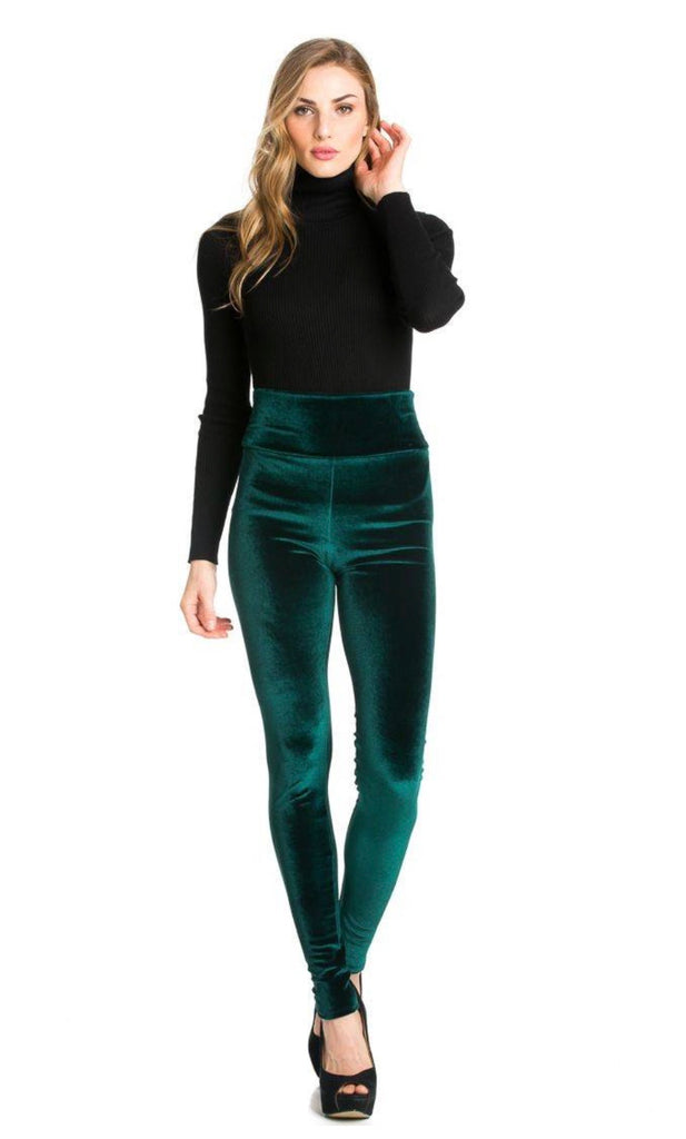 UNDER MY TREE Forest Green Velvet Leggings