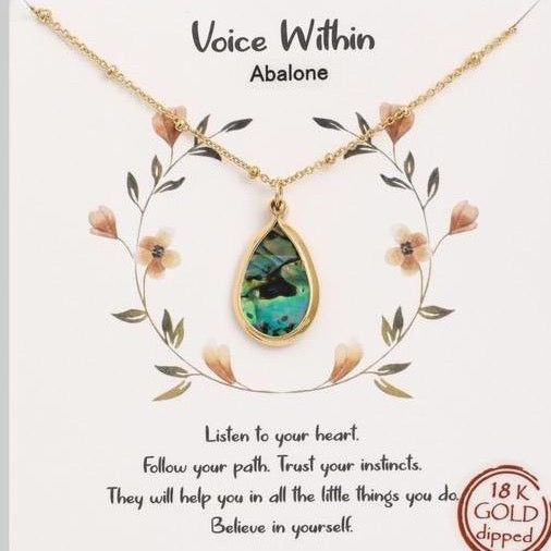 ABALONE 18KT Gold Dipped Abalone Shell Necklace w/ a Message