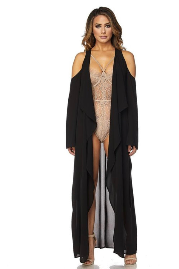BLACK MAGIC WOMAN Cold Shoulder Duster