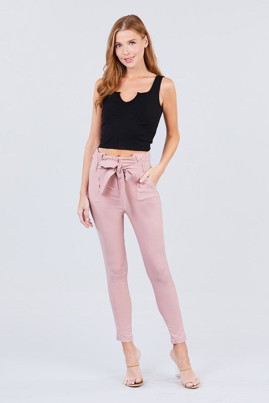 PAPERBAG Blush Pink Paperbag Style Stretch Pants