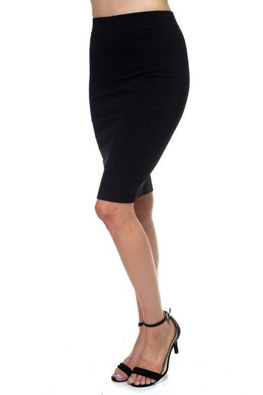 CITY GIRLS Stretch Black Pencil Midi Skirt
